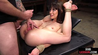 Flexible bdsm sub ass and pussy fucked tied up with rope