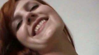 Kinky redhead girlfriend masturbates