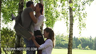 Naughty French girl Mina Sauvage and Shona River in outdoor threesome