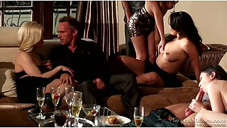 Glamorous babes share their partners on swinger party