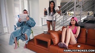 Stepdad in robe flashing his cock to pretty teen stepdaughter Brenna Sparks