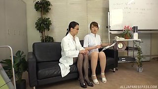 Japanese nurse and a female doctor have passionate sex on the sofa