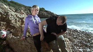 Slim Blond Hair Girl Chokes On Hard Knob At Beach