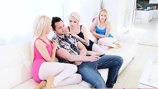 Petite blonde teens seducing and fucking bros big dick