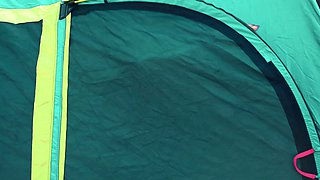 Outdoors Lesbian Sex In A Tent