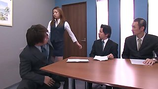 Hot Secretary Gets Mouthful Of Dicks And Gets Banged In Pantyhose And Heels