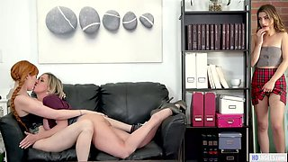 Busty Teachers Invites Kristen Scott For a Threesome Lesbian Fun