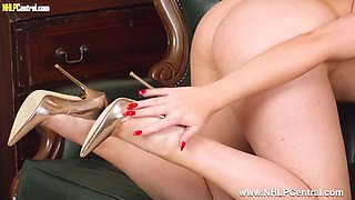 Naked blonde slut wants your spunk on sexy gold high heels