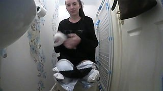 Hot Brunette Toilet Compilation Funny and Cute