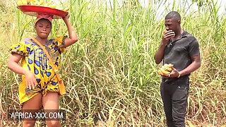 Black banana seller girl seduced for a hot fuck