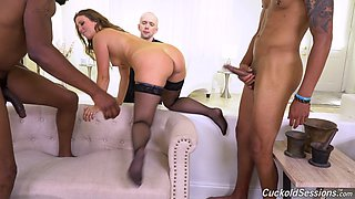 Whorish white wife Febby Twigs is fucked by two black gs in front of cuckold husband