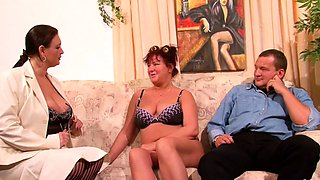 German Mature Teach old BBW Couple to Fuck and Join 3Some