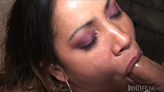 Chubby Brazilian mom with huge tits Kira B swallows hard dick of her stud ardently