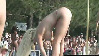Scandalous public nude party with many girls