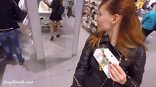 Jeny Smith In Flashing Her Seamless Pantyhose While Shopping
