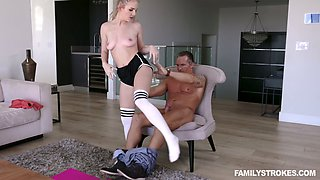 Slutty stepdaughter in torn shorts Natalie Knight is flashing yummy pussy