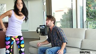 Brutal boyfriend fucks pussy and deep throat of lecherous babe in ripped yoga pants