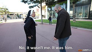 Amateur Latina nun picked up and fucked by a horny dude. HD