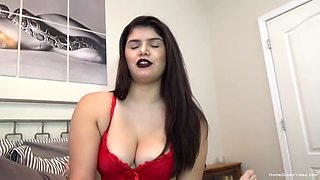 Busty Teen Jerks And Sucks A Cock While In Sexy Red Lingerie