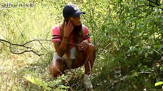 Two Sister Silvia And Evelina Dellai In A Piss Game In The Wood