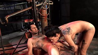 Boy exploits inked chick the way she deserves during fucking