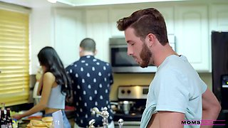 My Friends Mother Tia Cyrus Fucks My Hard Cock In The Kitchen