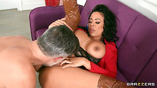 Thick Latina goddess devours whole dick in perfect manners