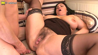 Busty hairy mother gets fucked hard and squirts