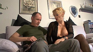 German housewife has sex with her husband in black nylons