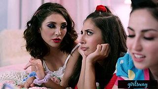 GIRLSWAY – Retro Sleepover With Gina Valentina And Gianna Dior