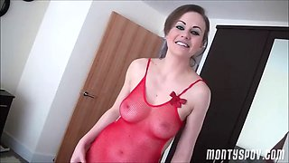 Tina pov hot girl is a red seethough swimsuit