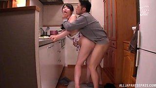 Passionate fucking in the kitchen with sexy girlfriend Akira Eri