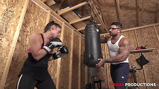 Sporty MILF brunette Tanya gets a hardcore pussy fuck in a gym