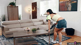 Teen nanny Riley Jacobs stuck cleaning with no panties on