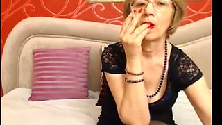 Smoking granny ... Red lips  red nails