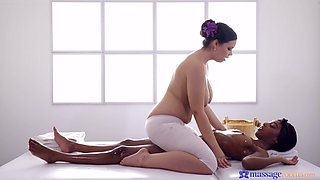 Oiled cuties Sofia Lee and Asia Rae have amazing interracial sex