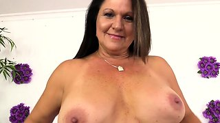 Sexy granny shows off her tits pussy and ass Then a guy
