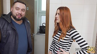 HUNT4K. Belle with red hair fucked by stranger in toilet