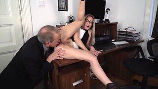 Unqualified Secretary Gets her Ass Eaten by Older Boss