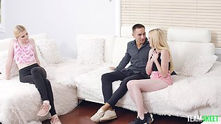 Pale blonde girl Niki Sweet rides a dick while her BFF watches
