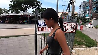 Petite amateur Asian teen with her boyfriend out for lunch