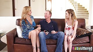 Petite Angel Smalls shares big cock with Julia Ann
