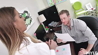 Doggystyle fucking on the office table with secretary Brooklyn Chase