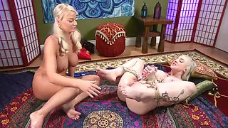 tied-up and ass fucked by her lesbian partner