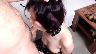 Submissive brunette camgirl gets spanked and blows a cock