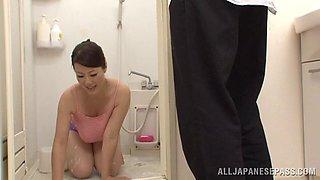Busty porn Japanese av model treats cock a hot and nasty blowjob