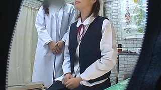 Japanese cutie in stockings visits her doctor