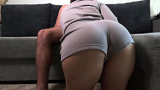 My stepsister catches me and helps me cum