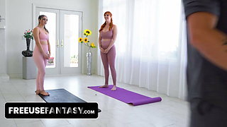 Hot Yoga Teacher Helps Voluptuous Milfs With Pussy Stretching