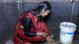 Desi hot new married girl taking bath